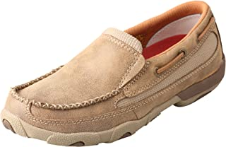 Women's Leather Slip-On Rubber Sole Moc Toe Driving Moccasins - Bomber