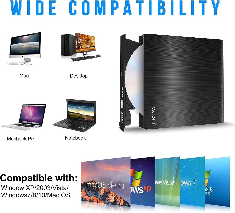 //-RW Drive Slim DVD//CD ROM Rewriter Burner Compatible with Laptop Desktop PC Windows Linux OS Apple Mac USB 3.0 Portable CD//DVD Valoinus External CD Drive