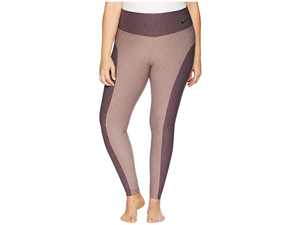 Nike Power Color Block Studio Tights (Size 1X-3X) (Smokey Mauve/Heather/Burgundy Crush/Black) Women