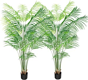 CROSOFMI Artificial Areca Palm Plant 6Feet Fake Tropical Palm Tree, Perfect Faux Dypsis Lutescens Plants in Pot for Indoor Outdoor House Home Office Garden Modern Decoration Housewarming Gift-2Pack