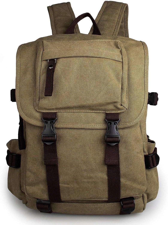 Weimilon Herren Vintage Canvas Schulrucksack Laptop-Rucksack Laptoprucksack Freizeitrucksack Reiserucksack Schulranzen Daypack Backpacks (Farbe   Grün)