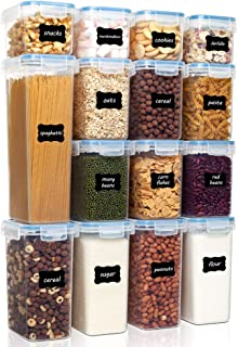 Vtopmart Airtight Food Storage Containers Set with Lids, 15pcs BPA Free Plastic Dry Food Canisters for Kitchen Pantry Orga...