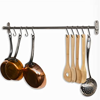 Wallniture Lyon Gourmet Kitchen Wall Mount Rail and 10 Hooks Stainless Steel Pot Pan Lid Holder Rack 31.5 Inch