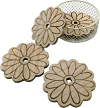 CVHOMEDECO. Daisy Shape Wooden Coaster Set with Wire Basket Holder, Handmade Dinner Coaster Table Drink Coasters, Home/Office Décor, Great, Dia. 4 Inch, Set of 4.