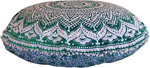 Stylo Culture Indian Indian Floor Cushion Cover Mandala Floor Cushion Meditation Pillow Case Green Large 32x32 Decorative ...