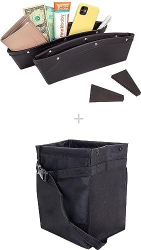 EcoNour Gift Bundle | Car Seat Gap Filler and Organizer (2 Pack) + Hanging Car Trash Bag | Car Seat Catcher & Holder with Divider | Leakproof Litter Basket | Car Seat Accessories