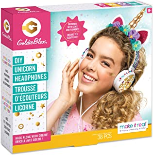Make It Real - GoldieBlox DIY Unicorn Headphones Kids STEM Arts & Crafts - Includes Volume Limiting Headphones, Stickers, ...