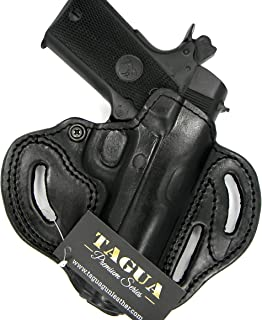 HOLSTERMART USA TAGUA Premium Deluxe Right Hand Black Leather Open Top OWB Belt Holster for 4