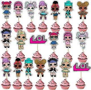 SHANFAA 20 Piezas Doble Cara Decoración de la Tarta de cumpleaños de LOL, Cupcake Topper,Decoración Linda de la Torta de la Fiesta de cumpleaños del Personaje de Dibujos Animados (10 Estilos)