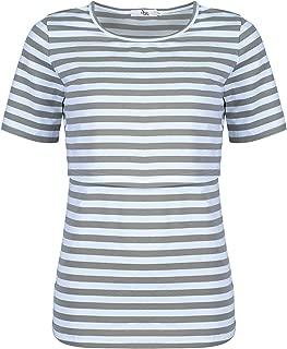 Elma & Me Striped Maternity Nursing top, Short Sleeve