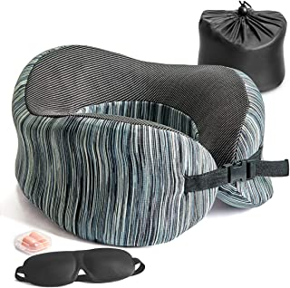 YOUDENOVA Travel Pillow Memory Foam, Neck Pillow Full Chin Head Support & U-Shaped Airplane Sleeping Pillow, Travel Kit with 3D Sleep Mask and Ear Plug