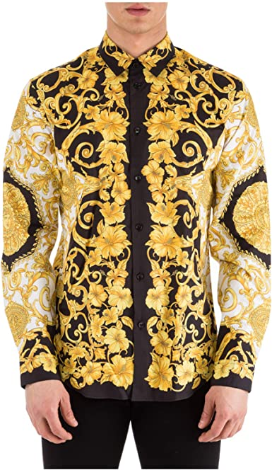 Versace Camisa Hombre Bianco - Nero - Oro 40 cm: Amazon.es: Ropa