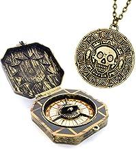 papapanda Pirate Jack Brújula Moneda Azteca Collar Conjunto