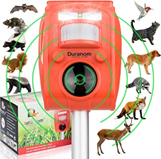 DURANOM Ultrasonic Animal Repeller Outdoor - Cat Deer Repellent Solar Powered - Motion Sensor Activated Strobe Light - Garden Pest Control Deterrent Chaser (Hunters Orange)