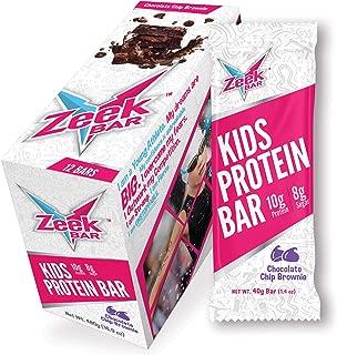 Zeek Kids Bar: Protein-Packed Kids Snack Bar | Real Ingredients, Delicious Flavors | Gluten Free, Low Sugar | Chocolate Chip Brownie, 12 Bars