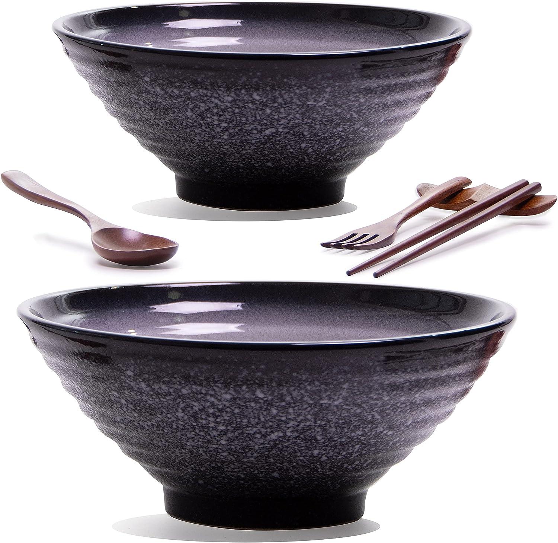 10 Pieces Premium Ceramic Large Ramen Bowls 37 Blue Super sale 2 Set: Dark Ranking TOP2
