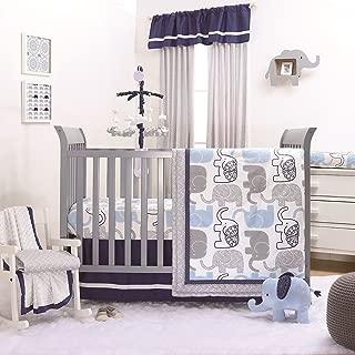 Little Peanut Navy Blue and Grey Elephants 4 Piece Baby Crib Bedding Set