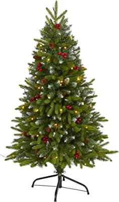 4ft. Snow Tipped Portland Spruce Artificial Christmas Tree with Frosted Berries and Pinecones with 100 Clear LED Lights