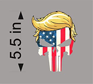 BSG Trump Punisher USA with Hair Window Decal Bumper Sticker Funny pro USA NRA 2A