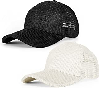 قبعة بيسبول شبكية صيفية من Whaline قبعة شبكية سريعة الجفاف قبعة بيسبول قابلة للتعديل للرجال والنساء البالغين للرياضة في ال...