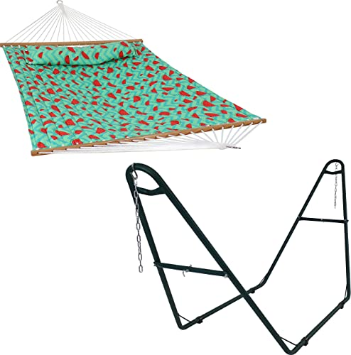 2021 Sunnydaze Watermelon Chevron discount 2-Person Quilted Printed Fabric Spreader Bar Hammock and online Pillow with S Hooks and Hanging Chains and 450-Pound Capacity Green Heavy-Duty Steel Hammock Stand Bundle online sale