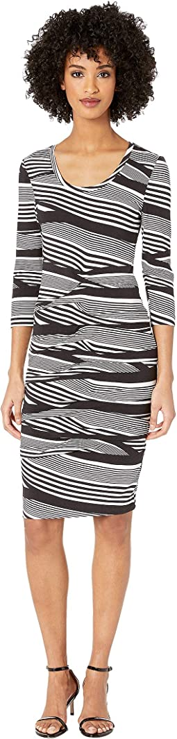 "Wavy Stripe ""Dakota"" Tidal Pleat Dress"