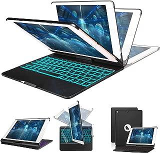 "New iPad Keyboard Case 9.7 Inch for for for New 2018 iPad, 2017 iPad, iPad Pro 9.7, iPad Air 1 and 2, 7 Colors Backlight, 360° Rotatable, Auto Sleep/Wake, iPad Case with Keyboard 9.7"", Black"
