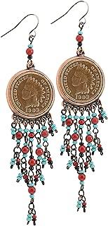 American Coin Treasures Coppertone Indian Head Cent Chandelier Earrings