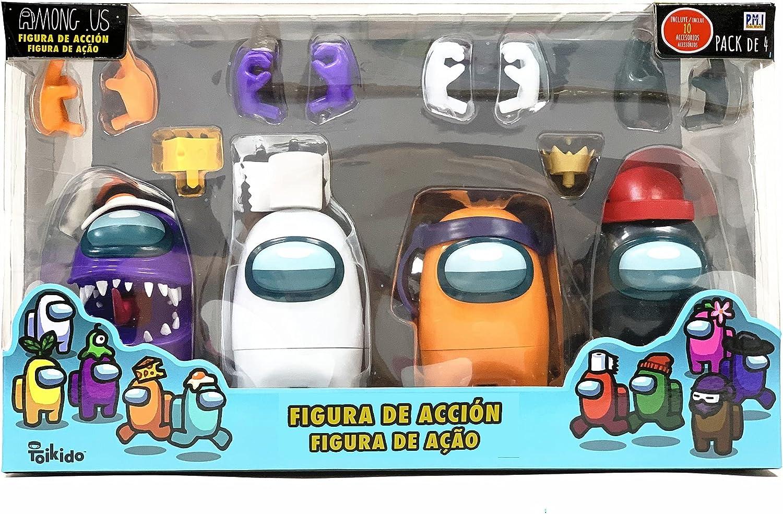 Bizak- Among Us Figura de Acción Pack de 4 en Caja, Multicolor (64116030)