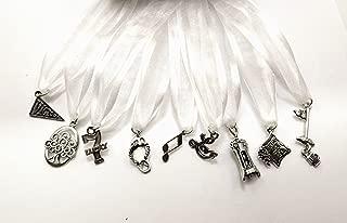 Uplifting Wedding Cake Pull Charms - White Ribbon - Set of Nine (9)