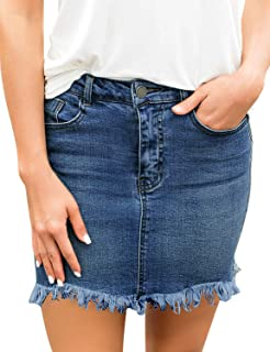 Women's Casual Mid Waisted Washed Frayed Pockets Denim...
