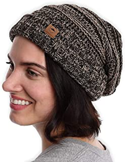 Slouchy Cable Knit Beanie for Women - Warm & Cute Oversized Slouch Beanie Winter Hats - Thick, Chunky & Soft Stretch Knitted Caps for Cold Weather - Stylish & Trendy Snow Cuff Beanies for Ladies