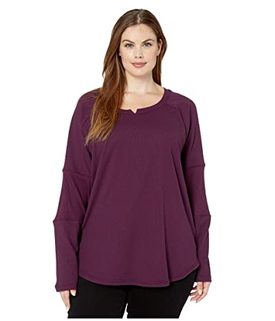 Columbia Plus Size Fall Pinetm Washed Crew (Black Cherry) Women
