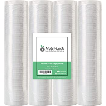 "Nutri-Lock Vacuum Sealer Bags. 4 Rolls 11""x25' Commercial Grade Food Saver Bags Rolls. Works with FoodSaver and Sous Vide. Fits Inside Sealer Machine."