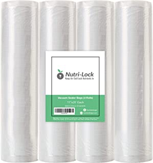 "Nutri-Lock Vacuum Sealer Bags. 4 Rolls 11""x25' Commercial Grade Bag Rolls. Works with FoodSaver and Sous Vide. Fits Inside..."