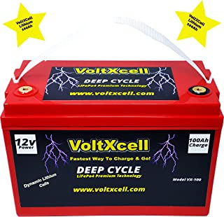 Voltxcell Lithium Battery 100ah 12v Solar Wind 12 Volt LifePo4 BMS Included Off Grid for Storage Rv Home Car Audio Power F...