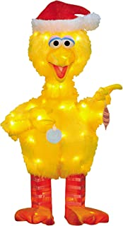 ProductWorks 32-Inch 3D Pre-Lit Sesame Street Big Bird with Ornaments Christmas Yard Decoration, 70 Lights
