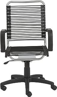 Eurø Style Bradley Bungie office chair, L: 27 W: 23 H: 37.5-43 SH: 17.5-23, Black/Aluminum