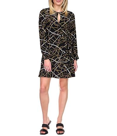 MICHAEL Michael Kors Belt Print Mini Wrap Dress (Black/Bone) Women