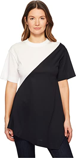 Gavino Short Sleeve Asymmetrical Mixed Top