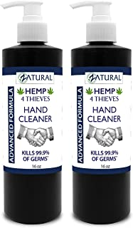 Hand Sanitizer Gel - Rinse Free Waterless Hand Cleaner - 62% Alcohol - 4 Thieves Essential Oil Synergy (16 Ounce 2 Pack)