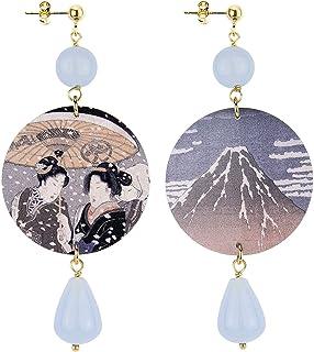 IN Lebole Collezione The Circle DOR06 Monte Fujiyama Orecchini da Donna in Ottone Pietra Celeste