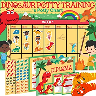 Potty Training Chart for Toddlers Dinosaur Design - Sticker Chart - 4Week Reward Chart, 194 Cool Stickers, Certificate, In...