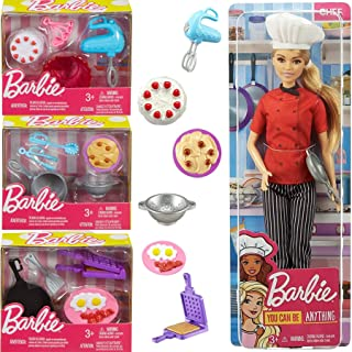 Barbie Cooking with Chef Doll Playset Figure Bundled with Kitchen Accessories Baking Pans / Pasta Bowl & Breakfast Foods 4 Items Career Girl