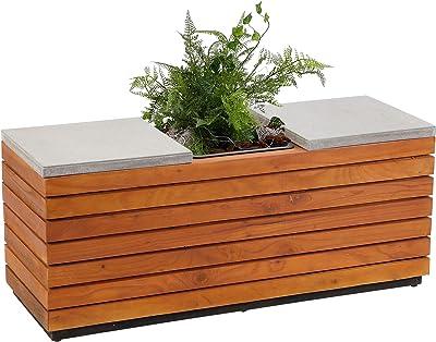 Gartenbank 2in1 Holzbank Blumenkübeln Weiß Parkbank Sitzbank Gartentruhe