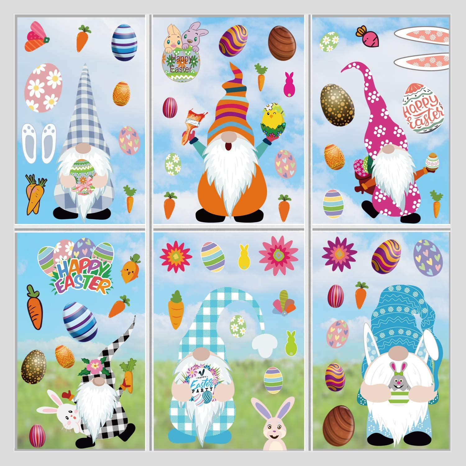 JOZON Easter Gnome Window Clings for outlet Superior Decorations 9 Glass