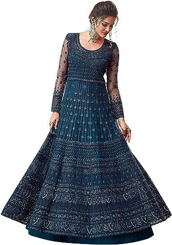 Yami fashion women's embroidery and diamond work semi stitch net with soft silk multi colored Lehenga choli
