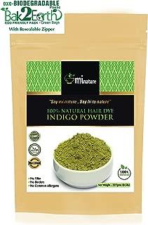 mi nature Indigo Powder, Indigofera tinctoria, 100% Natural Hair Color, Pure Indigo hair dye, for blue/black hair, 1/2 LB (227 grams) Eco Friendly Pack
