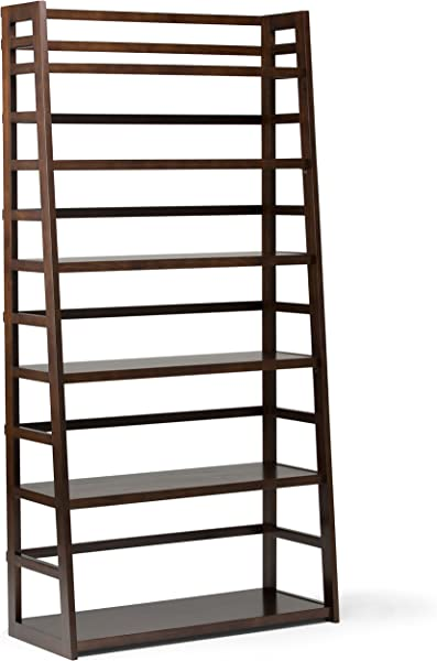 Simpli Home AXSS008KDW Acadian Solid Wood 72 Inch X 36 Inch Rustic Wide Ladder Shelf Bookcase In Tobacco Brown