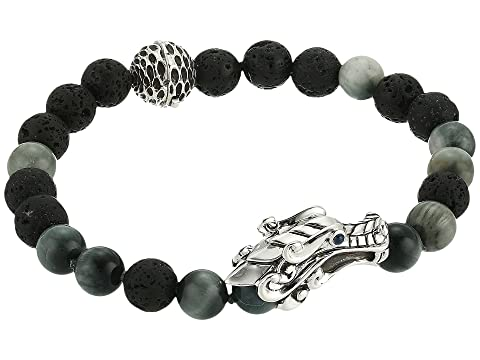 John Hardy Legends Naga 8mm Bead Bracelet with Eagle Eye and Black Volcanic